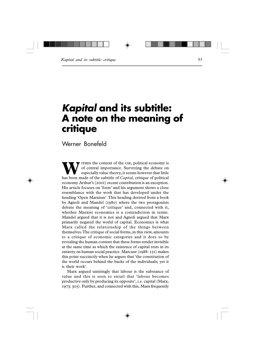 (PDF) Kapital and its subtitle: A note on the meaning of