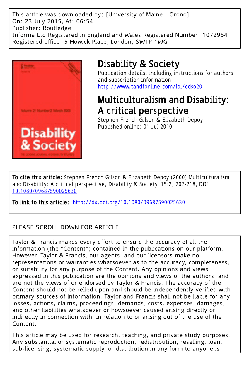Ethnographic Research In Disability Identity: Self-Determination And  Community | Request Pdf