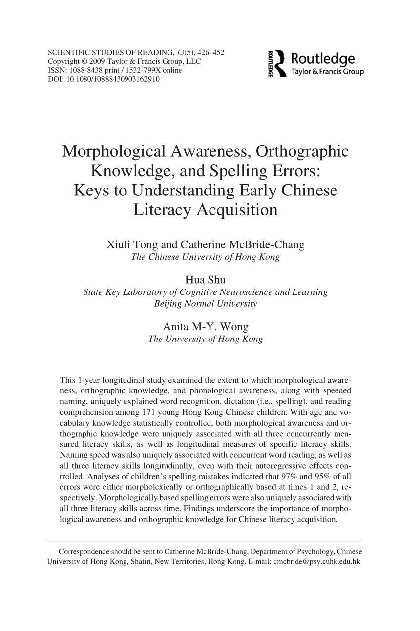 Morphological Awareness Orthographic Knowledge And