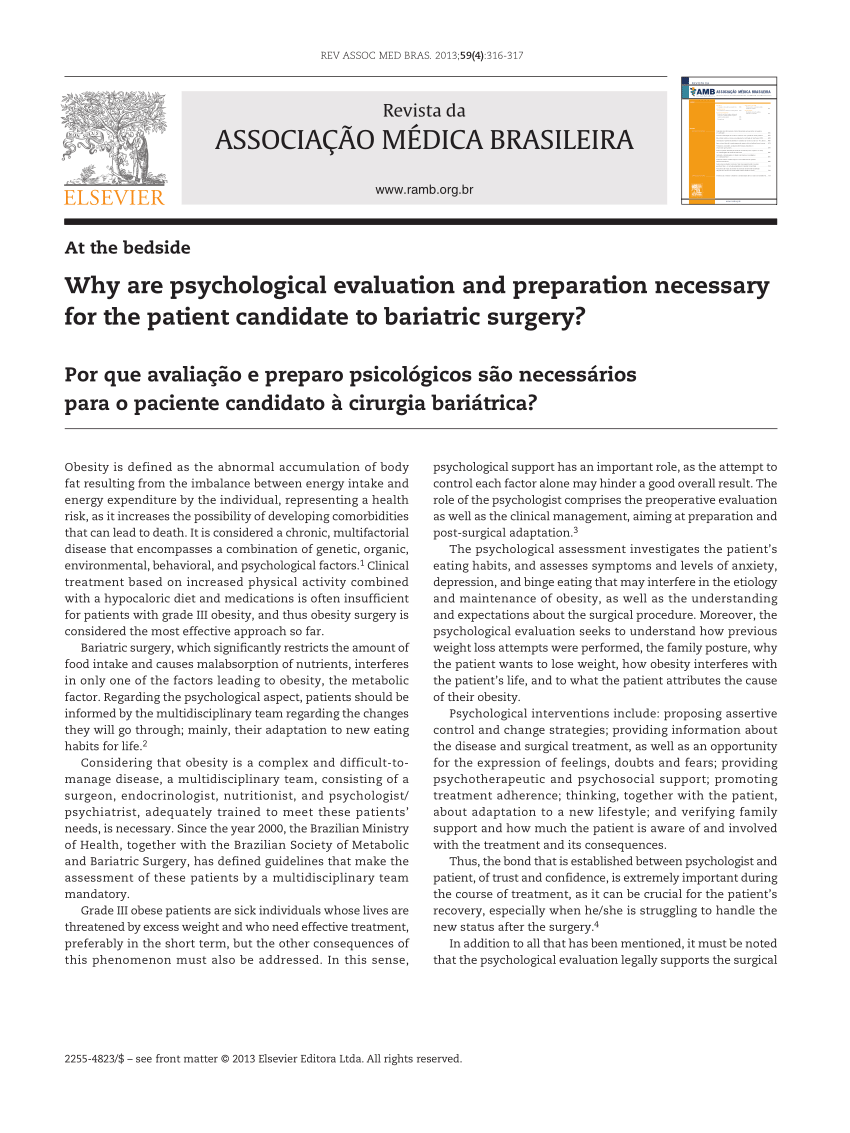 (Pdf) Why Are Psychological Evaluation And Preparation Necessary For The  Patient Candidate To Bariatric Surgery?