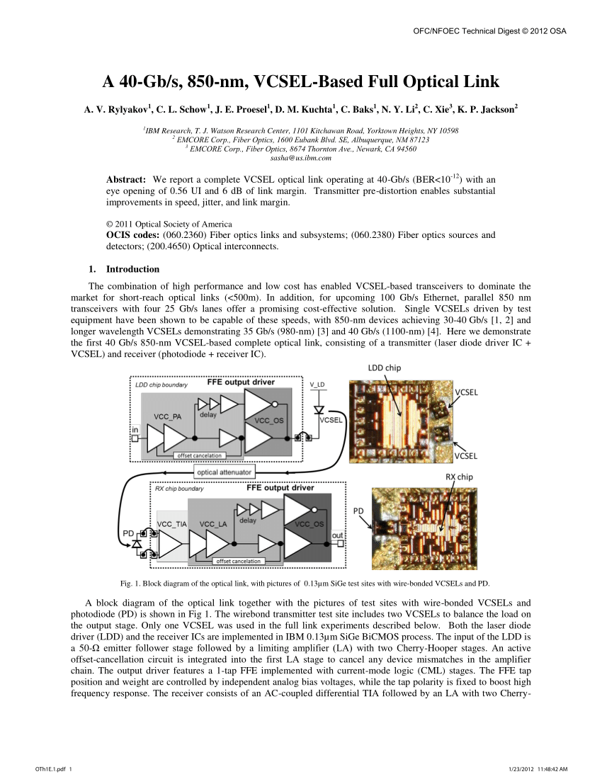 hight resolution of first principles optimization of opto electronic communication links krishna t settaluri request pdf