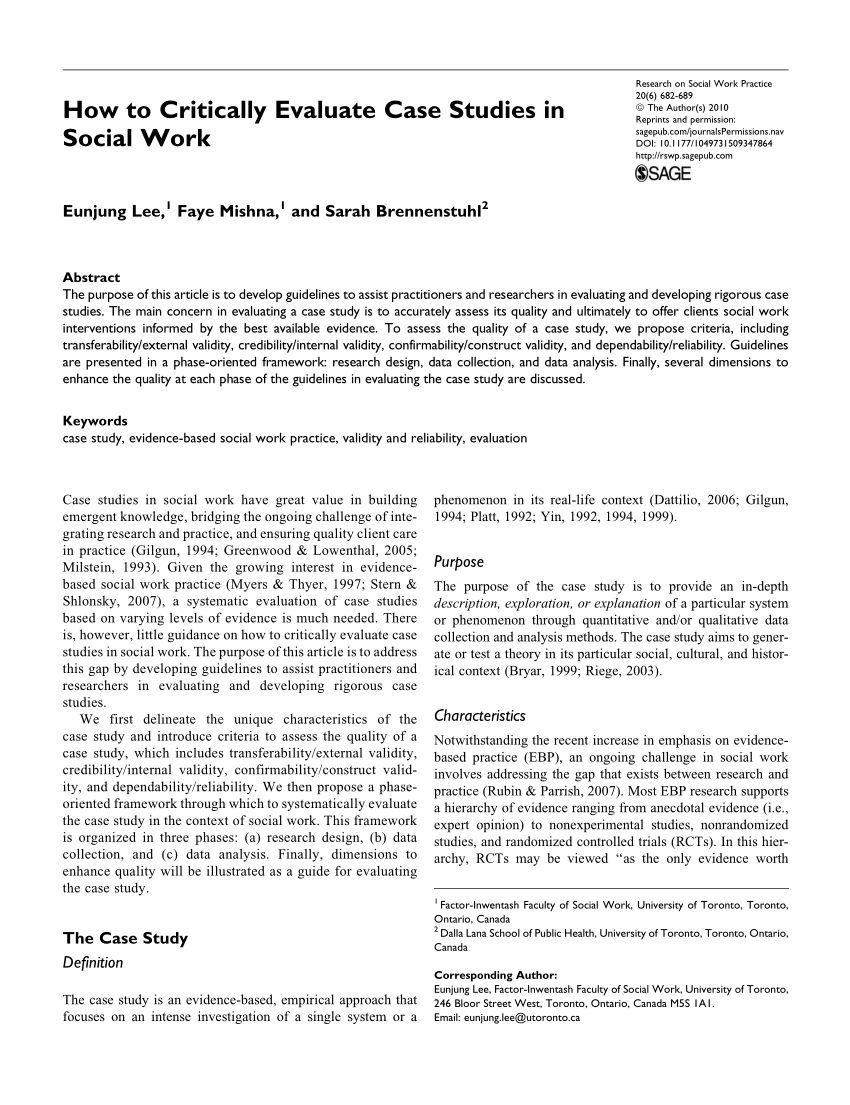 PDF How To Critically Evaluate Case Studies In Social Work