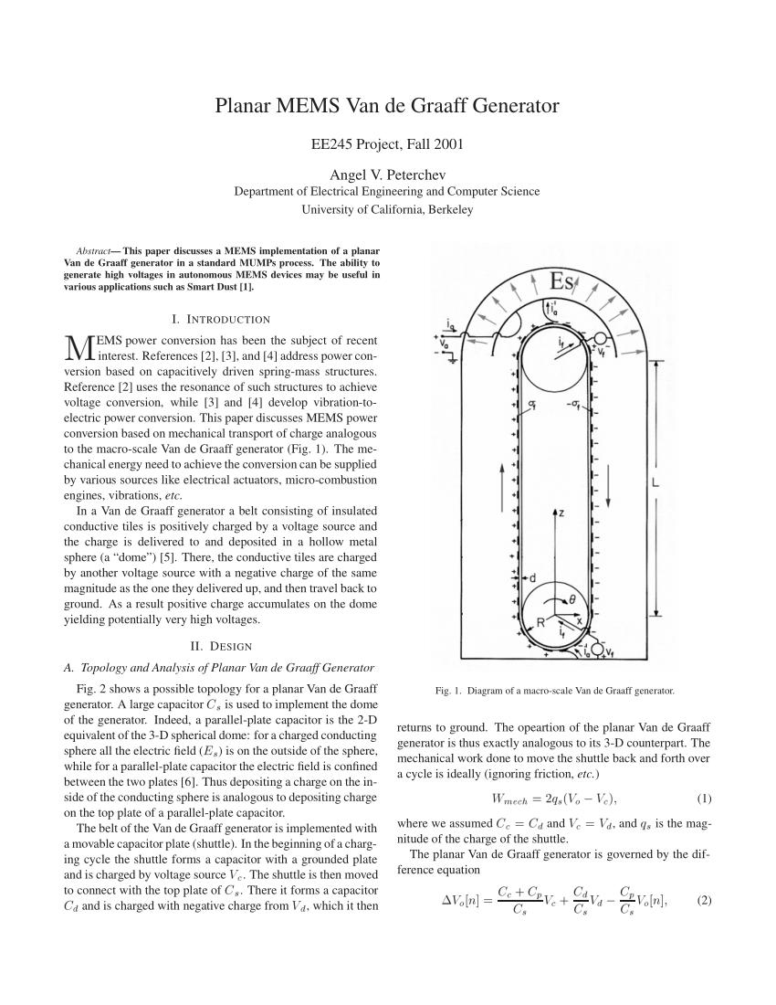 hight resolution of  pdf planar mems van de graaff generator