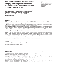 pdf the contribution of diffusion tensor imaging and magnetic resonance spectroscopy for the differentiation of breast lesions at 3t [ 850 x 1133 Pixel ]