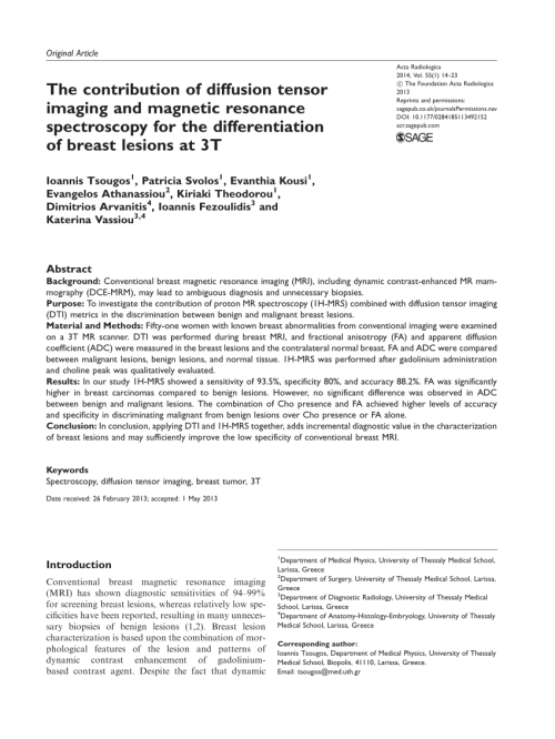 small resolution of  pdf the contribution of diffusion tensor imaging and magnetic resonance spectroscopy for the differentiation of breast lesions at 3t