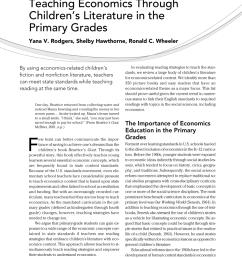 PDF) Teaching Economics Through Children's Literature in the Primary Grades [ 1104 x 850 Pixel ]