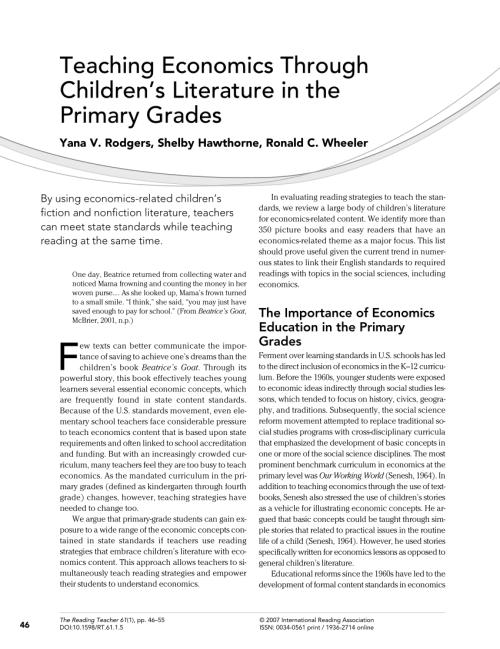 small resolution of PDF) Teaching Economics Through Children's Literature in the Primary Grades