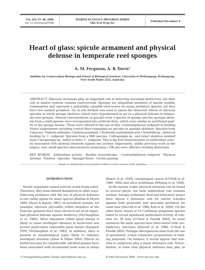 medium resolution of  pdf heart of glass spicule armament and physical defense in temperate reef sponges