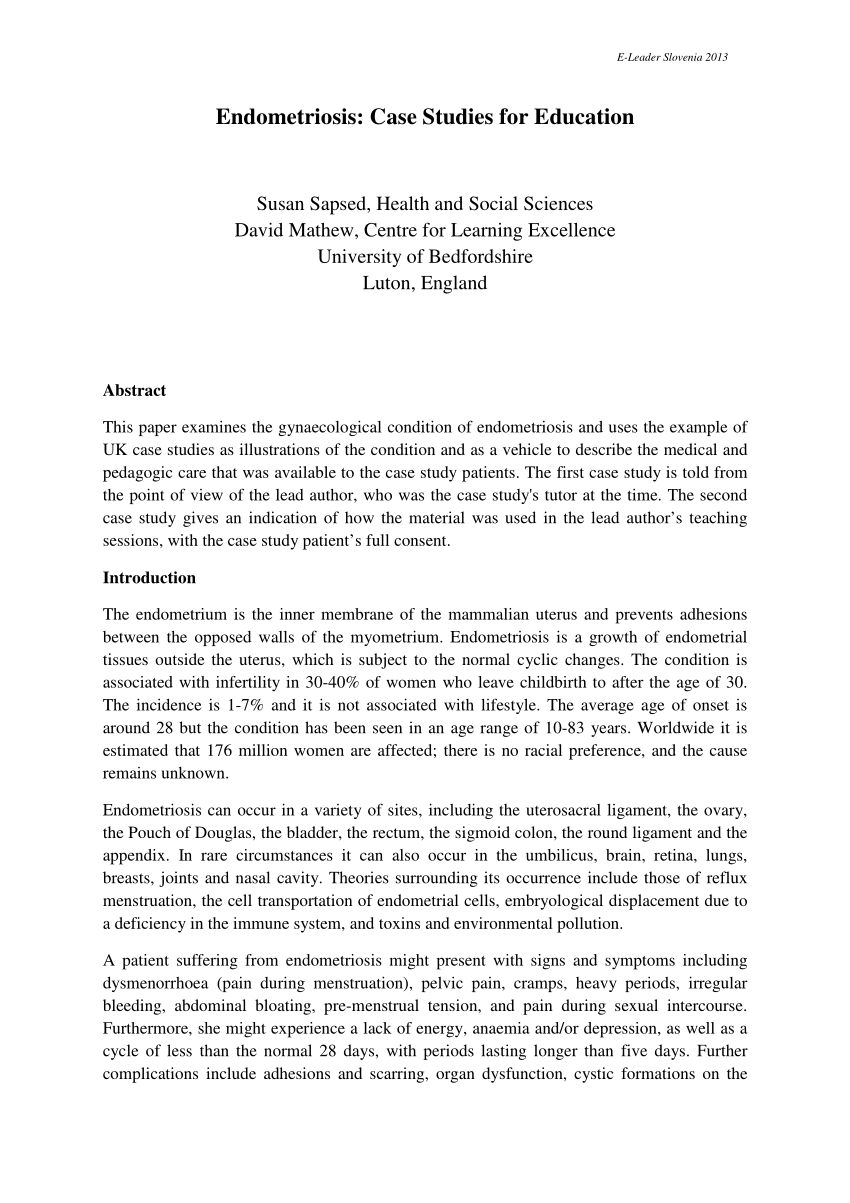 PDF Endometriosis Case Studies for Education