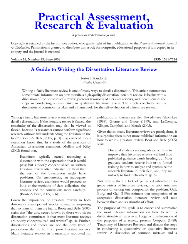 PDF) A Guide to Writing the Dissertation Literature Review