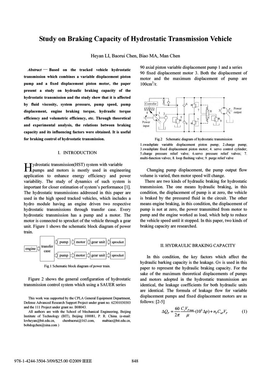 medium resolution of  pdf study on braking capacity of hydrostatic transmission vehicle