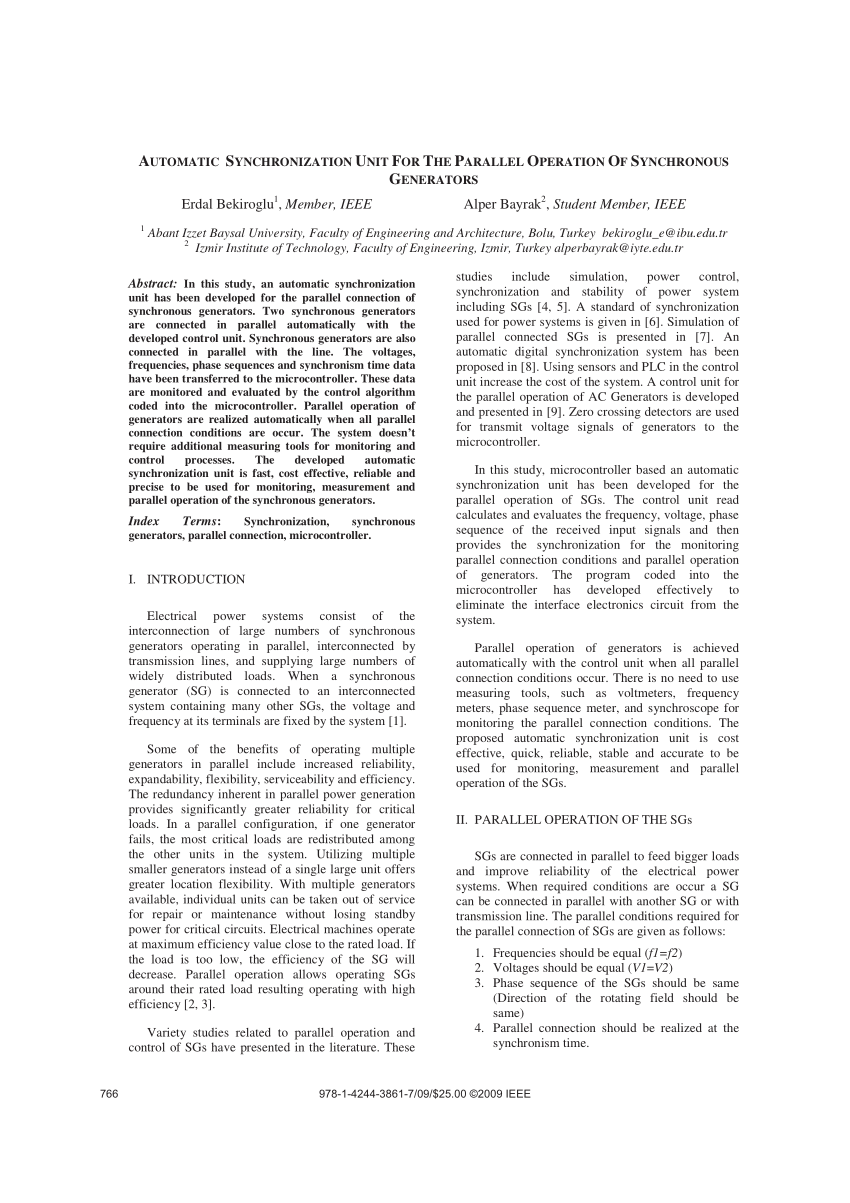 (PDF) Automatic synchronization unit for the parallel
