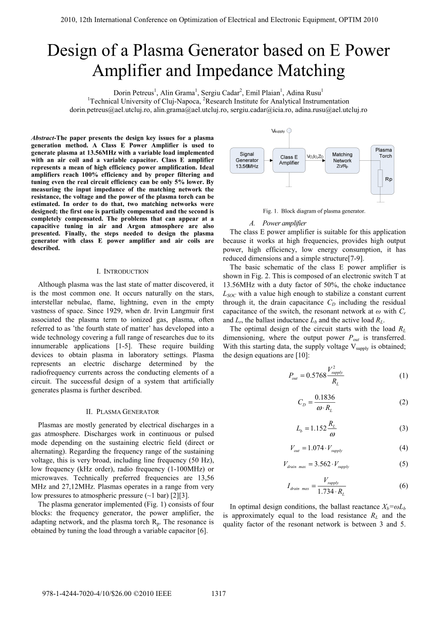 hight resolution of  pdf design of a plasma generator based on e power amplifier and impedance matching