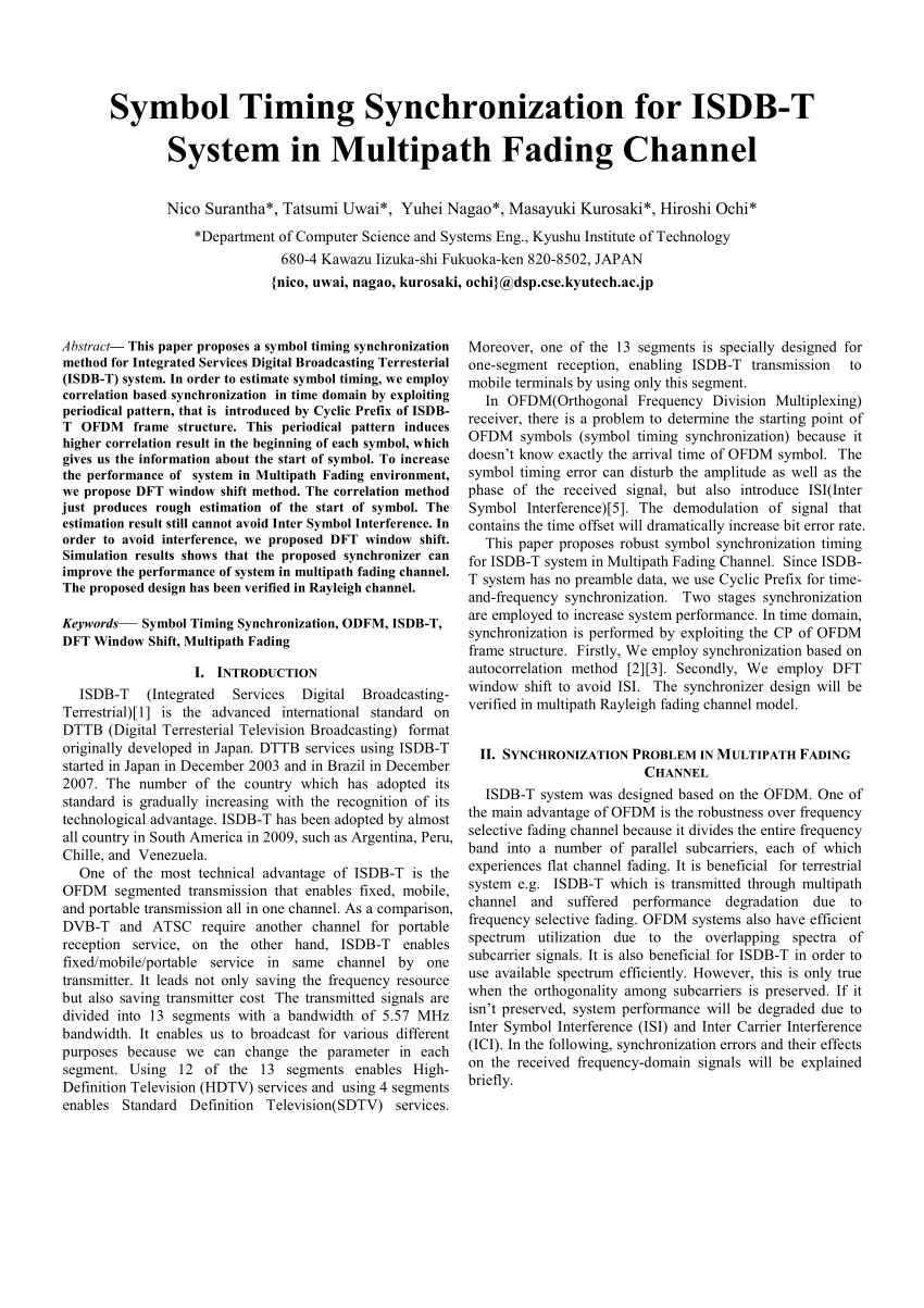 medium resolution of  pdf symbol timing synchronization for isdb t system in multipath fading channel