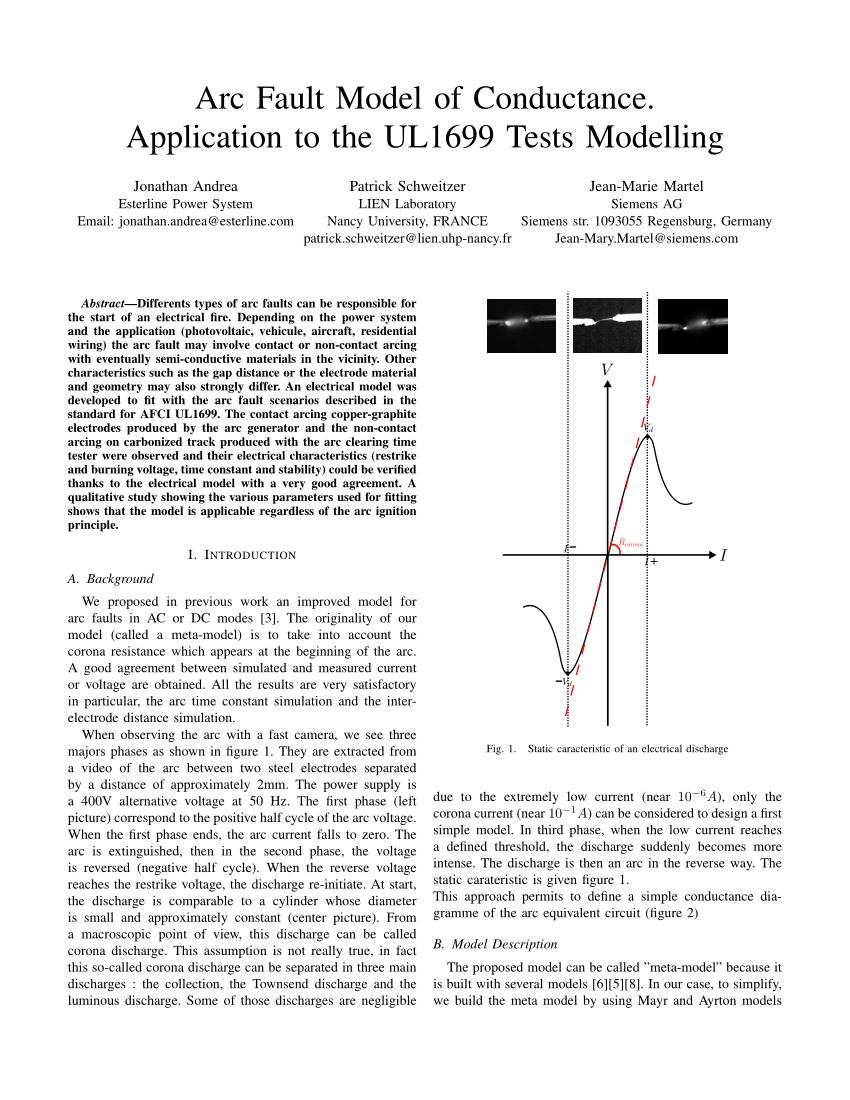 hight resolution of  pdf arc fault model of conductance application to the ul1699 tests modeling