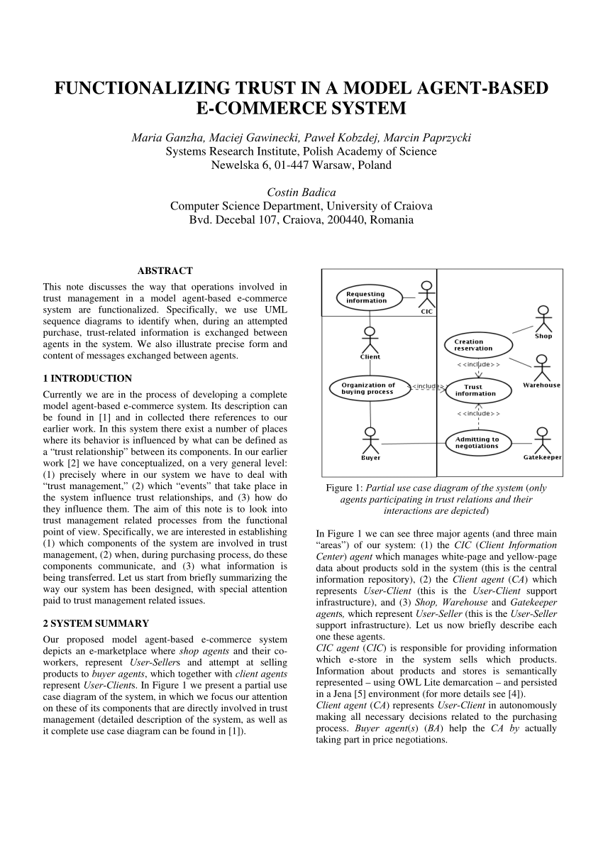 medium resolution of  pdf functionalizing trust in a model agent based e commerce system