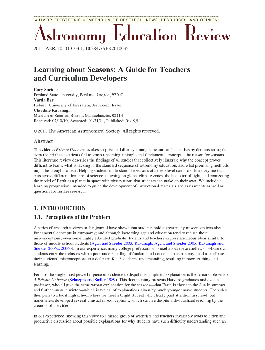 medium resolution of PDF) Learning about Seasons: A Guide for Teachers and Curriculum Developers
