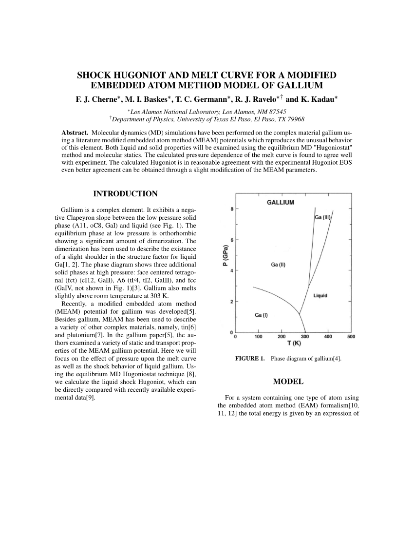 hight resolution of  pdf shock hugoniot and melt curve for a modified embedded atom method model of gallium