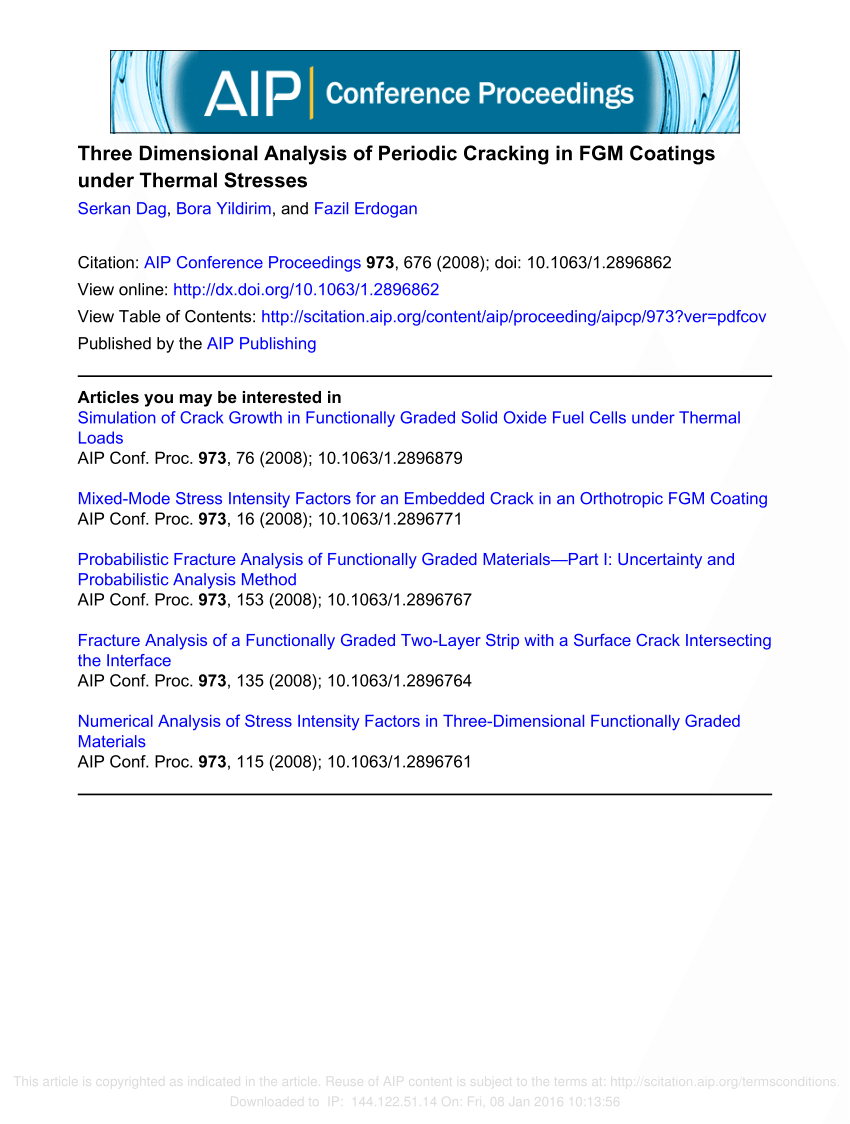 hight resolution of  pdf three dimensional fracture analysis of fgm coatings