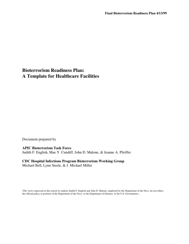 Pdf Bioterrorism Readiness Plan A