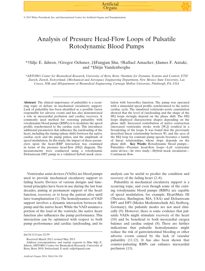 medium resolution of pdf analysis of pressure head flow loops of pulsatile rotodynamic diagram likewise process flow diagram vacuum pump symbol also ecg