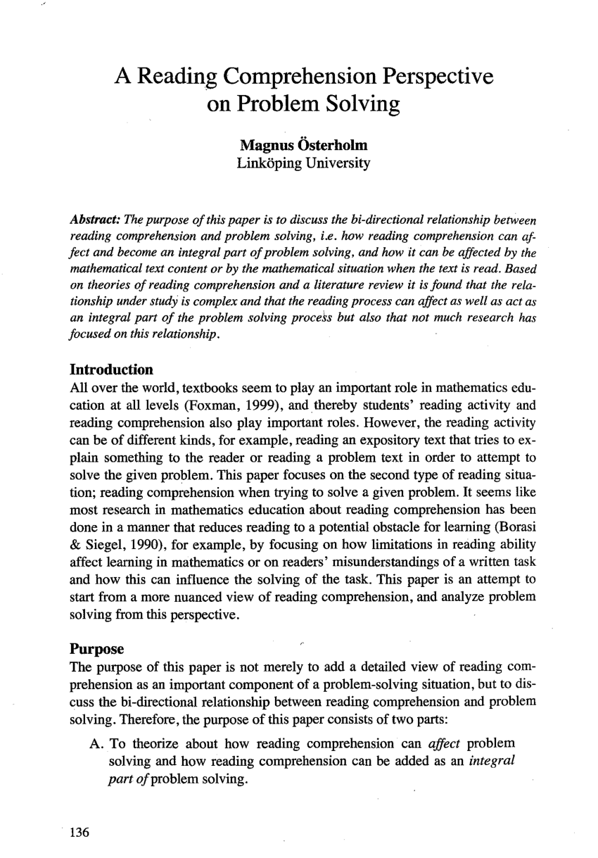 (pdf) A Reading Comprehension Perspective On Problem Solving