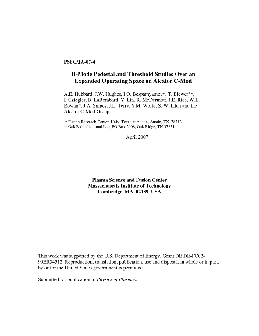 hight resolution of  pdf h mode pedestal and threshold studies over an expanded operating space on alcator c mod