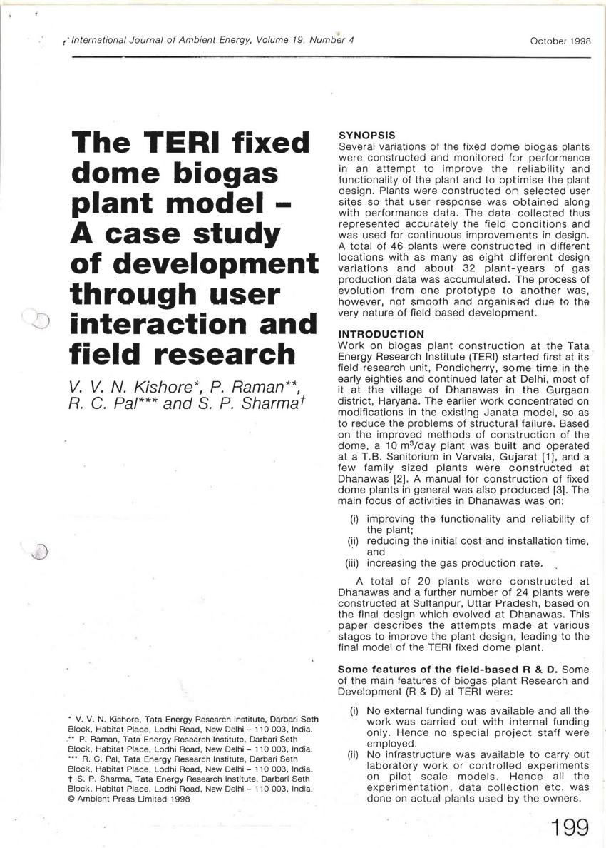 (PDF) The TERI fixed dome biogas plant model—A case study
