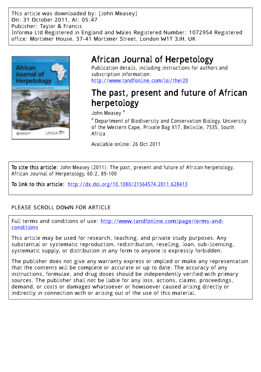 PDF The Past Present And Future Of African Herpetology