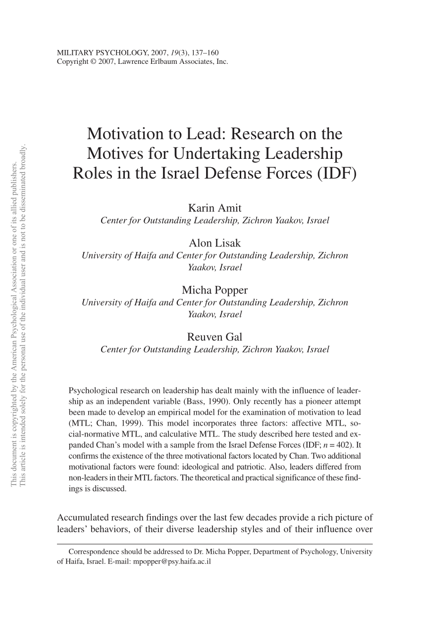 PDF Motivation To Lead Research On The Motives For Undertaking