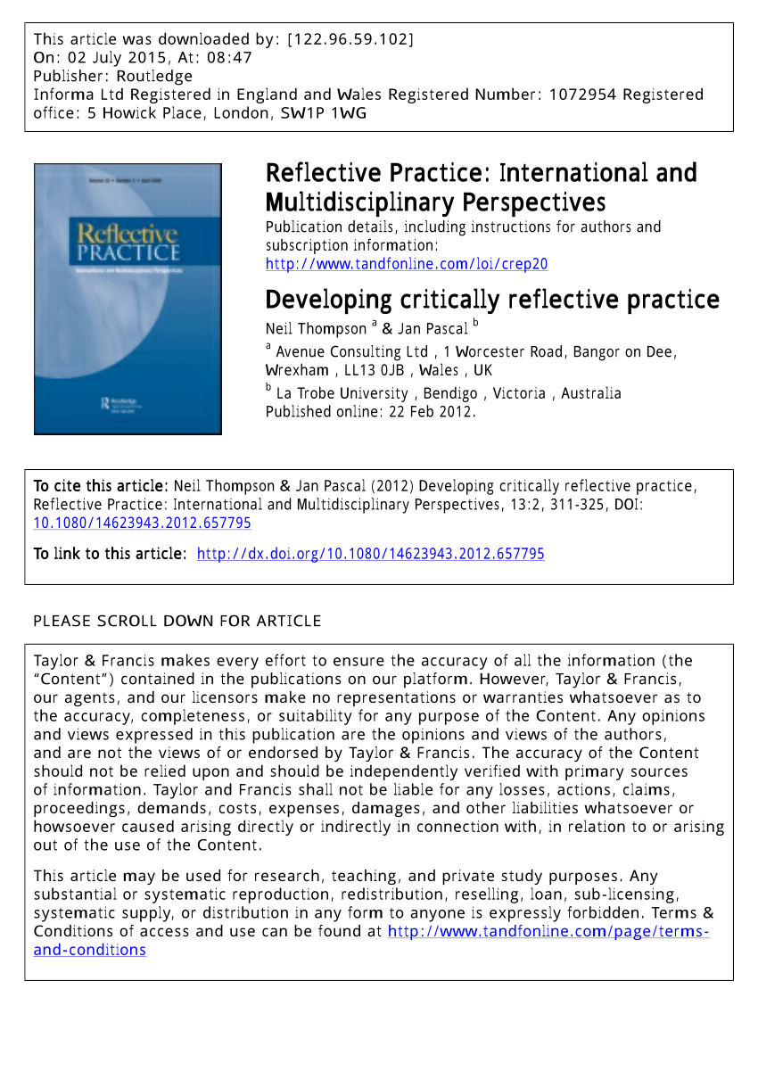 PDF Developing critically reflective practice