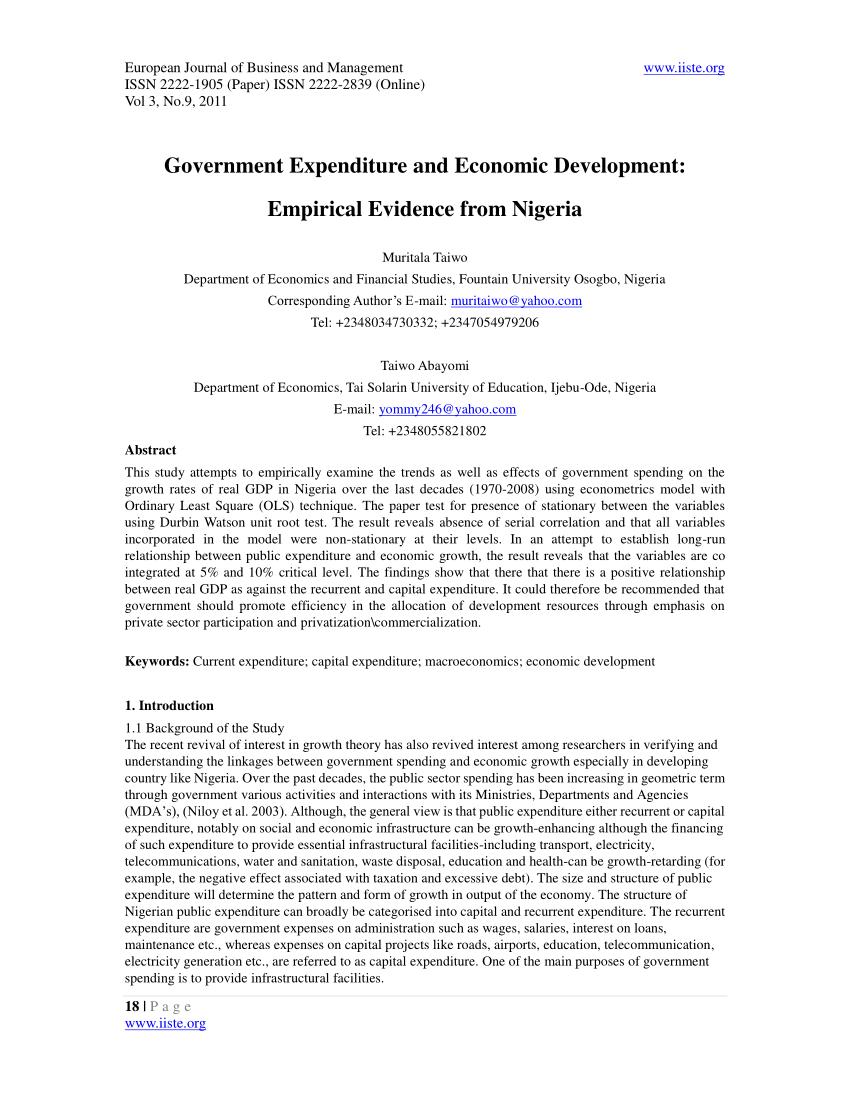 PDF Government Expenditure And Economic Development Empirical