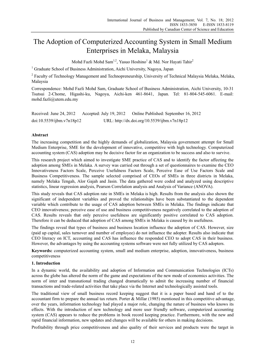 Pdf The Adoption Of Computerized Accounting System In Small