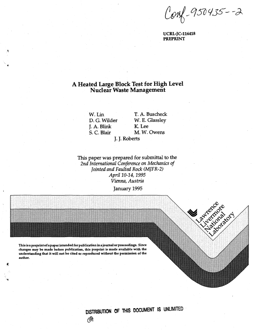 hight resolution of  pdf a heated large block test for high level nuclear waste management