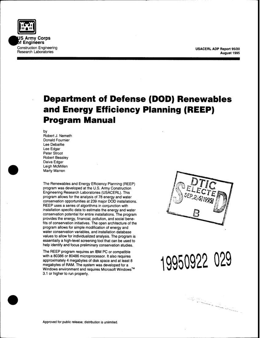 (PDF) Department of defense (DoD) Renewables and Energy