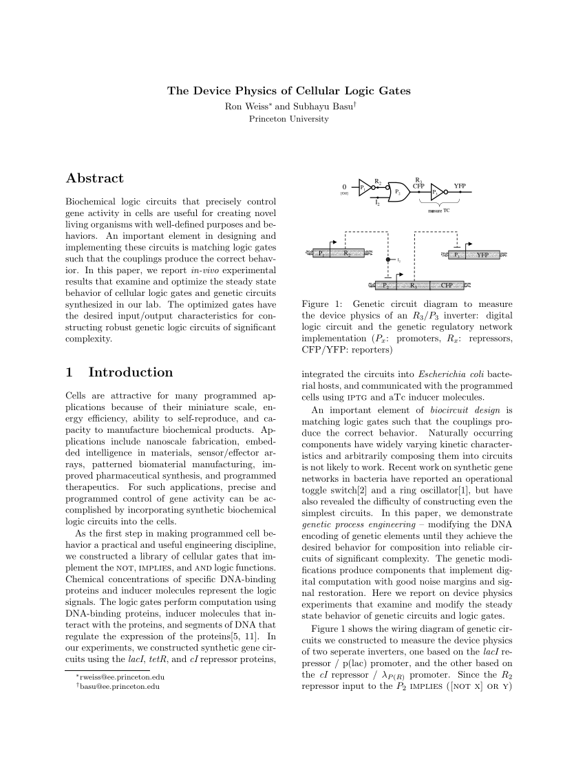hight resolution of  pdf the device physics of cellular logic gates