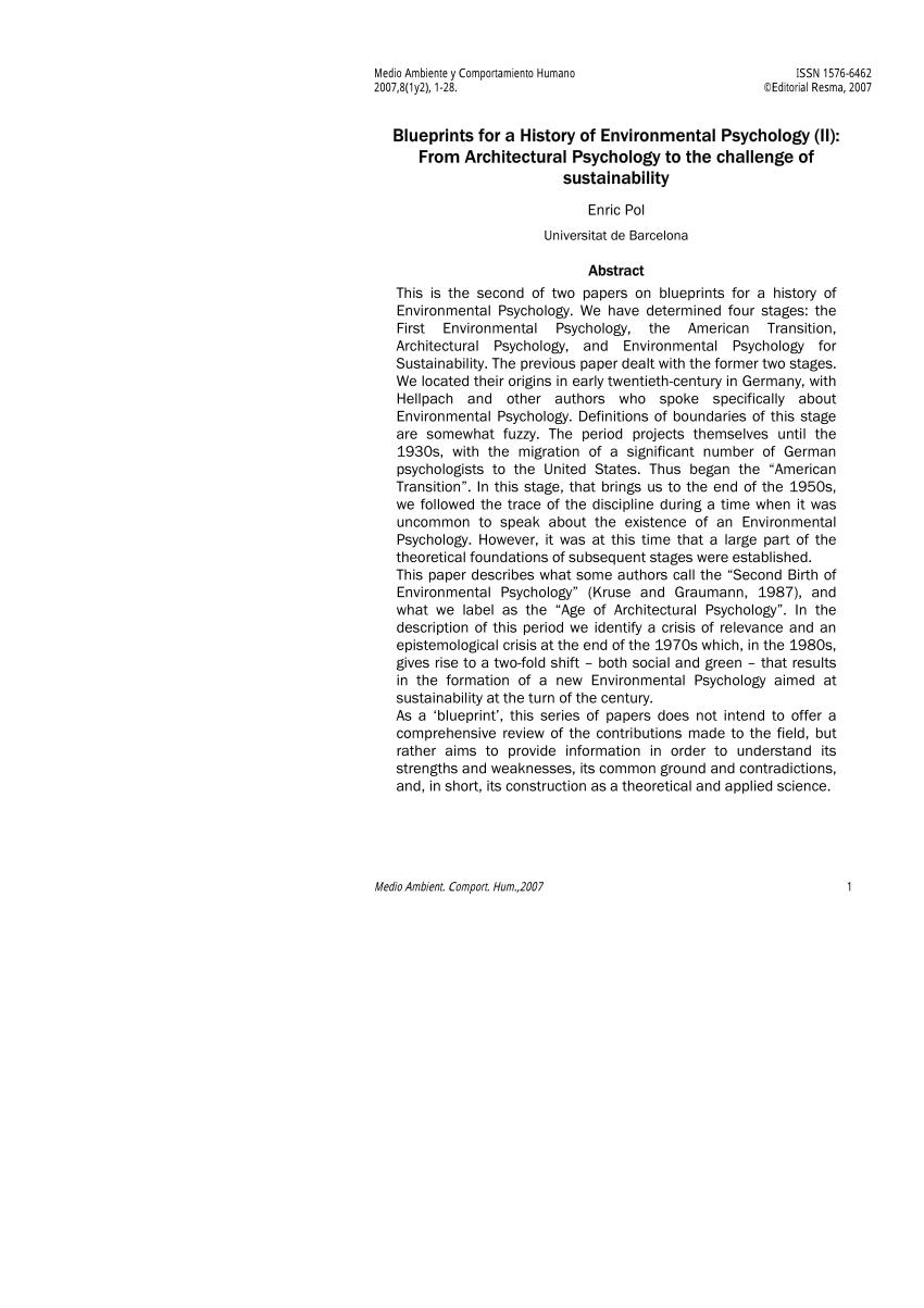 (PDF) Blueprints for a History of Environmental Psychology