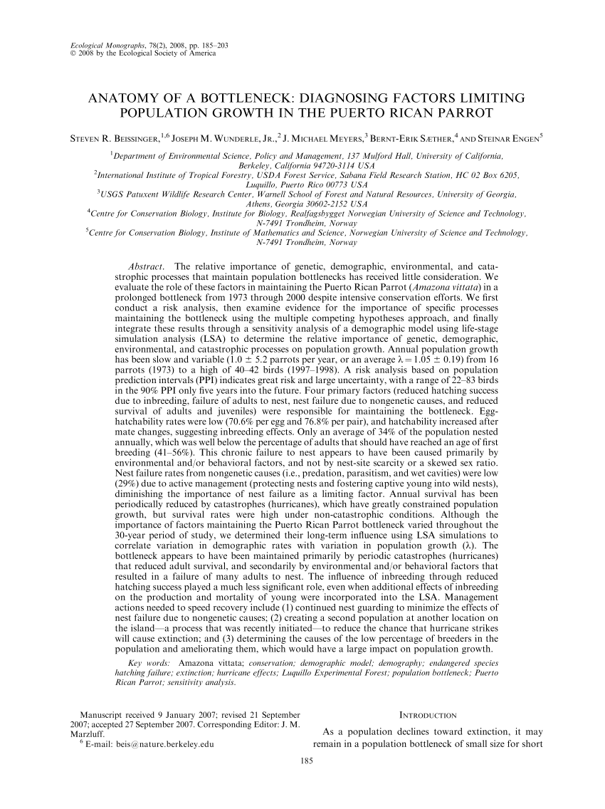 (PDF) Anatomy of a bottleneck: Diagnosing factors limiting