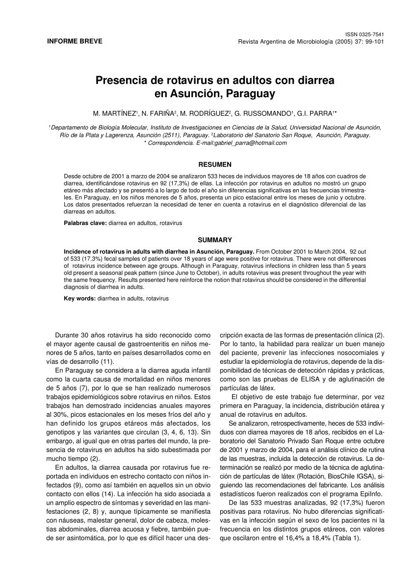 PDF) Presencia de rotavirus en adultos con diarrea en Asunción ...