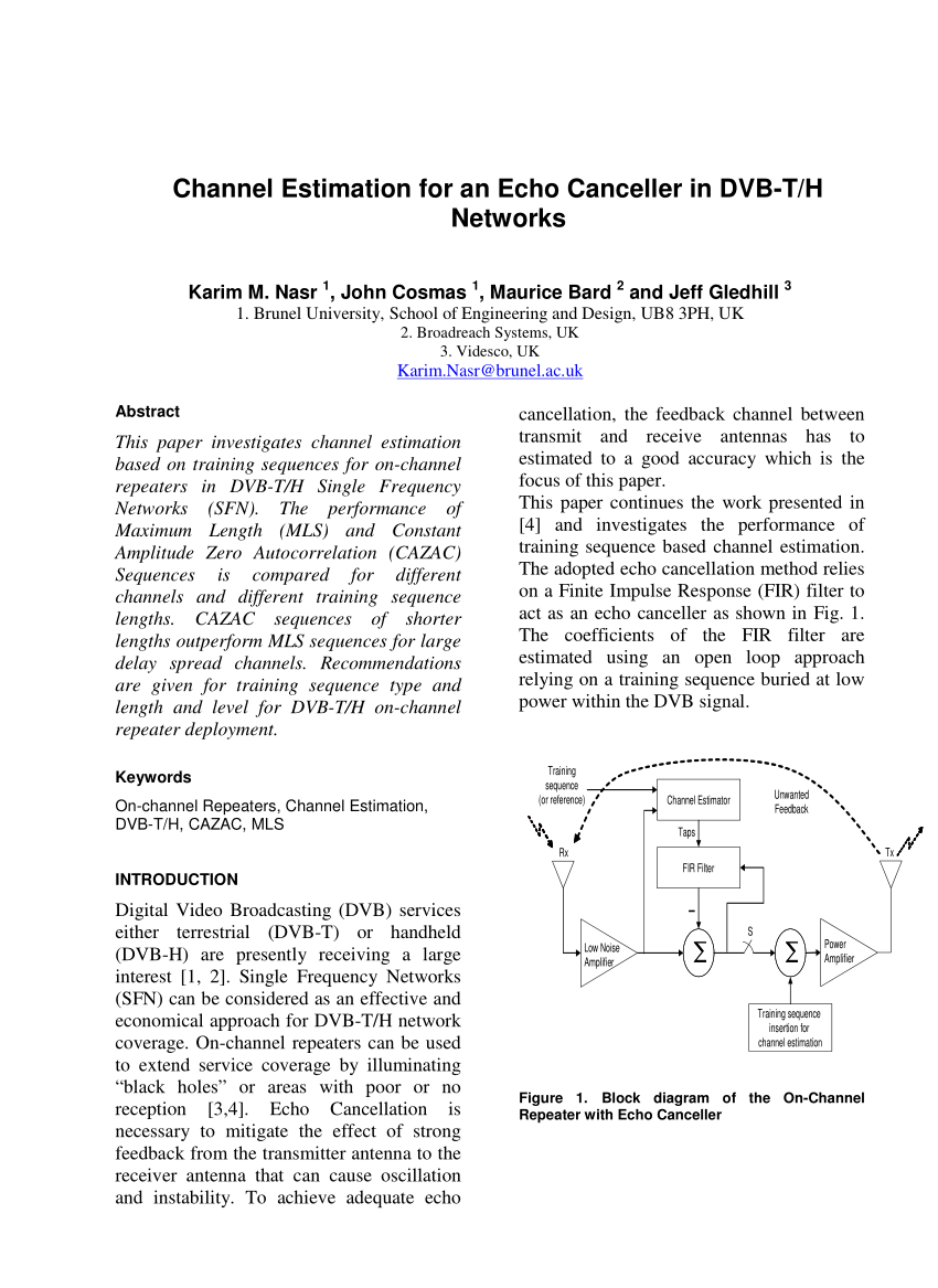 hight resolution of  pdf channel estimation for an echo canceller in dvb t h networks