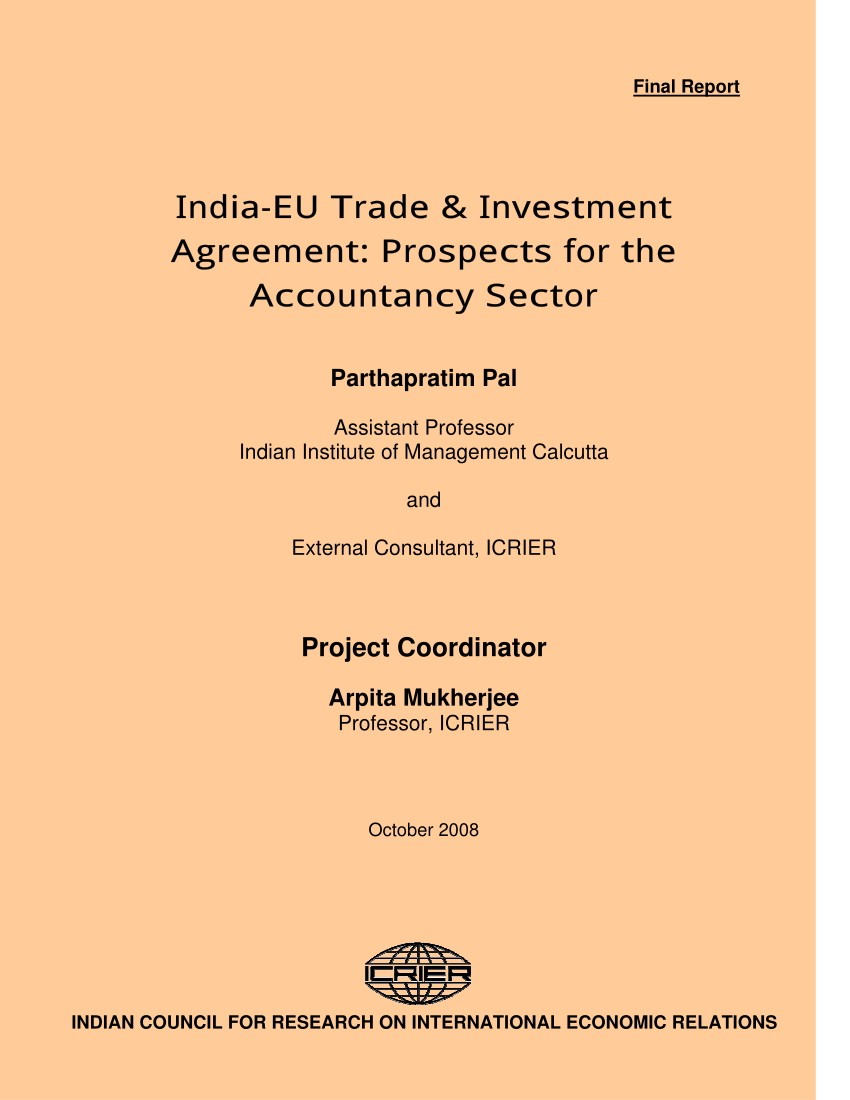 (Pdf) India-Eu Trade & Investment Agreement: Prospects For The Accountancy  Sector