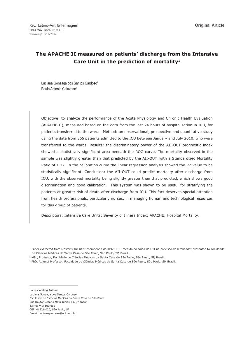 escore prognostico sofa walmart cover pdf uso do apache ii e atn iss em insuficiencia renal aguda tratada dentro fora da unidade de terapia intensiva