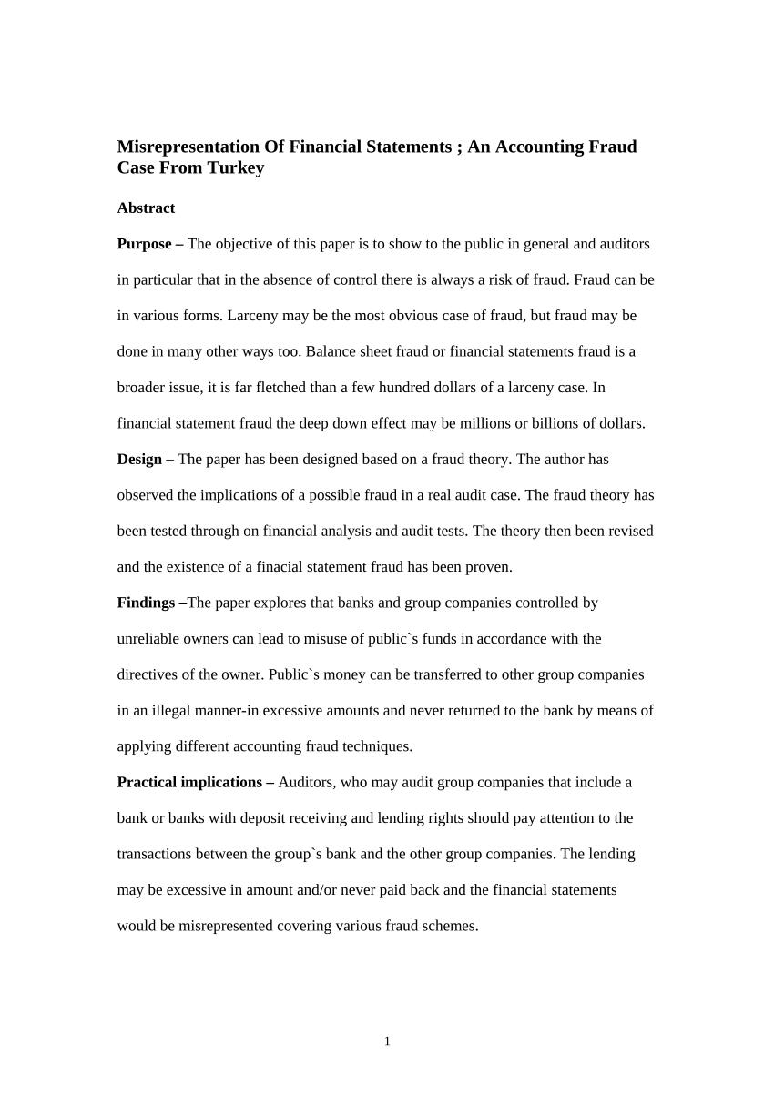 PDF Misrepresentation Of Financial Statements An Accounting Fraud
