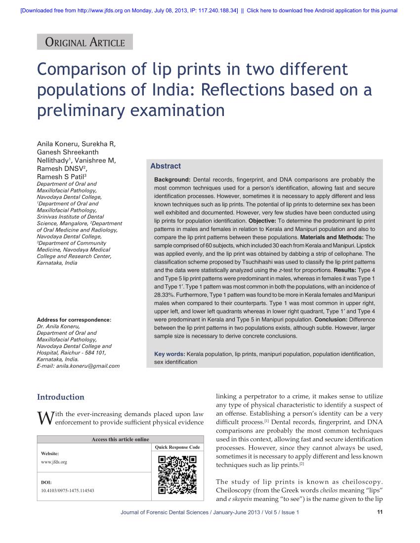 (PDF) Comparison of lip prints in two different