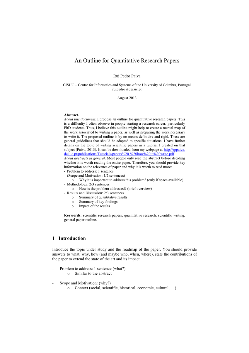 PDF An Outline For Quantitative Research Papers
