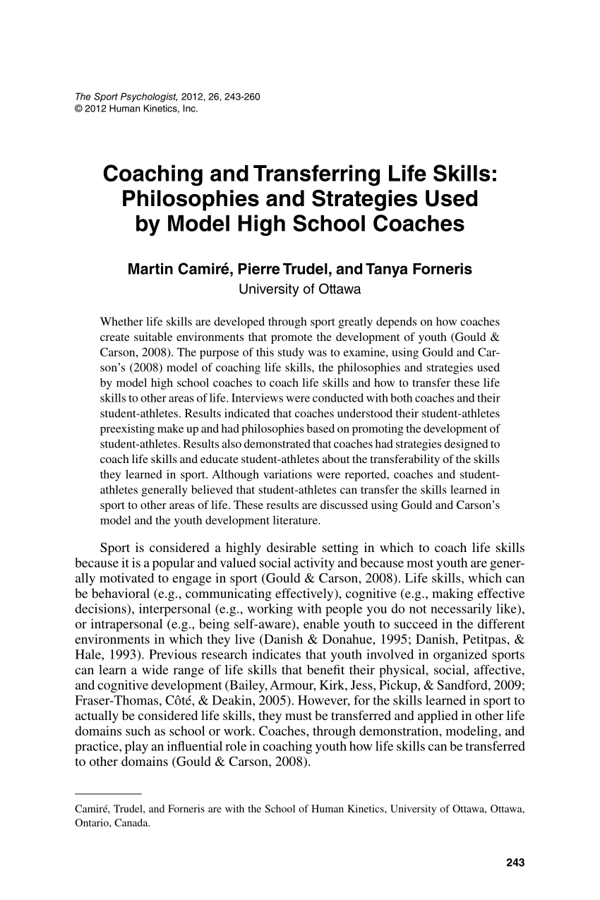 PDF Coaching And Transferring Life Skills Philosophies
