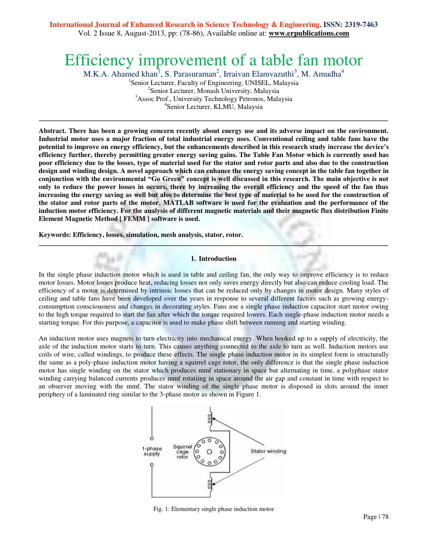medium resolution of  pdf efficiency improvement of a table fan motor