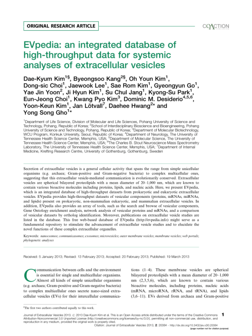 small resolution of  pdf evpedia an integrated database of high throughput data for systemic analyses of extracellular vesicles