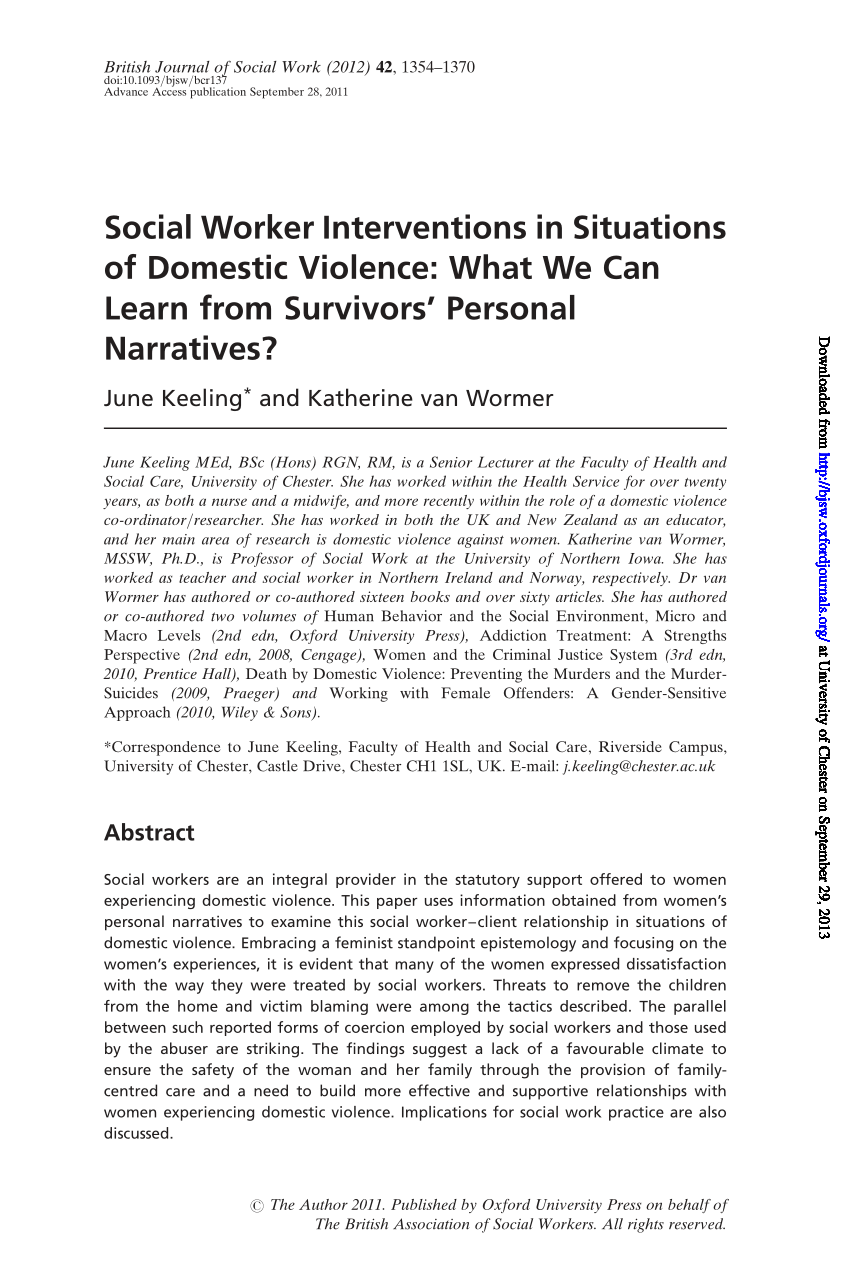 PDF Social Worker Interventions in Situations of Domestic Violence What We Can Learn from
