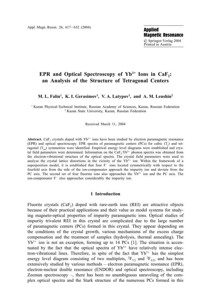 medium resolution of endor of formulaybformula on tetragonal sites in calcium fluoride determination of the crystal field parameters request pdf